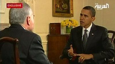 Barack Obama during the Al-Arabiya interview (photo: DW)