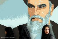 An Iranian woman in front a poster depicting Khomeini (photo: DW/dpa)