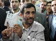President Ahmadinejad after casting his vote (photo: AP)