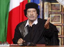 Gaddafi during a press conference in the Villa Madama in Rome (photo: dpa)