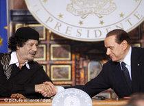 Gaddafi during his state visit to Italy (photo: dpa)