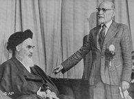 Mehdi Bazargan and Ayatollah Khomeini (photo: AP)