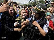 Protest of Uighurs in Urumqi, China (photo: AP)