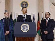 US President Obama, Afghan Presidnent Hamid Karsai and Pakistan's President Asif Zardari during their three-way summit in Washington (photo: AP)