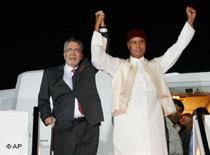 Abdel Baset al-Megrahi, left, and Seif al-Islam Gaddafi (photo: AP)