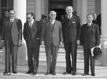 Four Middle East Premiers pose with Harold MacMillan, British Foreign Secretary, at the inaugural meeting of the Baghdad Pact (photo: AP)