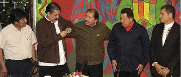 From left: Bolivia's President Evo Morales, ousted Honduras' President Manuel Zelaya, Nicaragua's President Daniel Ortega, Venezuela's President Hugo Chavez and Ecuador's President Rafael Correa (photo: AP)