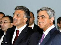 Abdullah Gül and the armenian president Serzh Sarksyan after their meeting in Eriwan, September 2008 (photo: dpa)