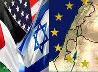 Symbolic picture of the flags of USA, Israel, Palestine and Europe (photo: AP/DW)