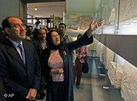 Nuri Al-Maliki and Amira Edan during the reopening ceremony at the Baghdad Museum (photo: AP)