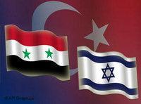 Israeli, Syrian and Turklish flags (image: AP Graphics)