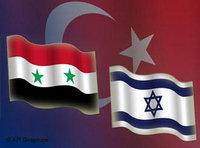 Israeli, Syrian and Turklish flags (image: AP Graphics)