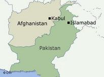 Miniature map of Afghanistan and Pakistan (image: DW)