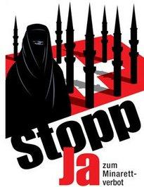 The UDC's campaign poster against Islam and the minarets (image: Wikipedia, Creative Commons License)