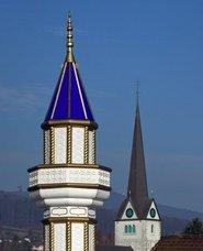 Minaret and steeple in Switzerland (photo: AP)