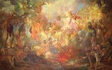 Hoshruba painting by Ustad Allah Bakhsh (1895-1978). The painting hangs in the Lahore Museum (source: www.mafarooqi.com/hoshruba)