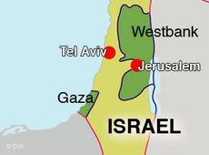 Map of Israel and the Palestinian autonomous territories (image: DW)
