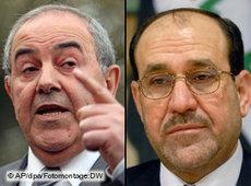 Iraq's Prime Minister Nouri al-Mailiki and his contender Iyad Allawi (photo: AP/DW/dpa)