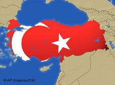 Photo montage of a map of Turkey and the Turkish flag (DW/AP)
