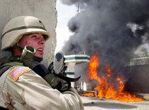 US soldier during an attack on a US military base in March 2004 (photo: AP)