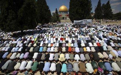 Muslim worshippers during Friday prayer in Jerusalem (photo: AP)
