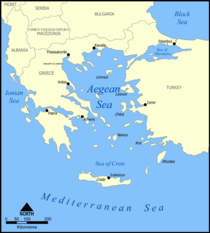 Map of the Aegean Sea (source: Wikipedia)