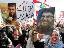 Supporters of Hizbullah during a rally in Beirut (photo: AP)