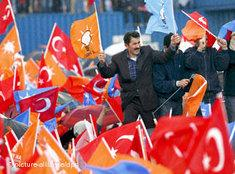 Supporters of Turkey's ruling party, the AKP, waving flags in Istanbul (photo: dpa)