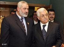 Ismail Haniya and Mahmoud Abbas (photo: AP)
