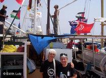 Edith Lutz on one of the ships heading for Gaza (photo: Edith Lutz)