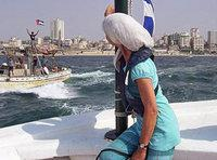 Edith Lutz on the ship to Gaza (photo: Edith Lutz)