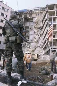 US Marine in front of the destroyed American embassy in Beirut, Lebanon (photo: AP)