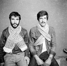 Two men wearing the keffiyeh (photo: Arab Image Foundation)