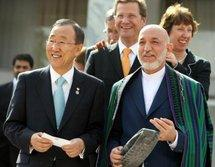 Ban Ki-Moon, Guido Westerwelle, Hamid Karzai (photo: dpa)