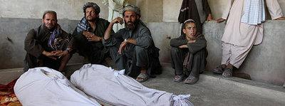 The bodies of some of the people killed during an attack on a wedding ceremony in Kandahar in June 2010 (photo: AP)