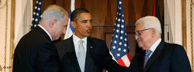 Netanyahu, Obama and Abbas in Washinton (photo: AP)