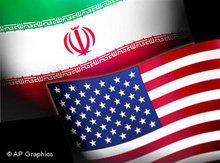 Iranian and US flag (image: AP Graphics)