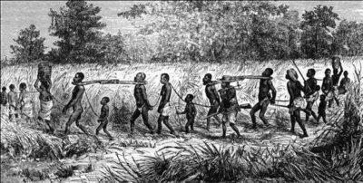 African slaves in Africa, historic illustration (source: Leibniz University Hanover, Germany)