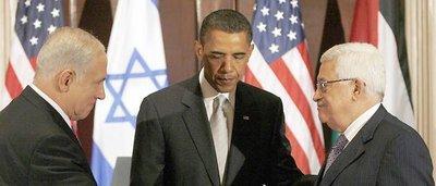 Netanyahu, Obama and Abbas in Washinton (photo: dpa)