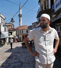 Imam Ramadan Ramadani at the Old Bazaar in Skopje, Macedonia (photo: AP)