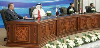 Turkey's Prime Minister Erdogan, the Emir of Qatar Sheikh Hamad bin Khalifa al-Thani, Syria's President Assad and the French President Sarkozy (photo: AP/Michael Euler)