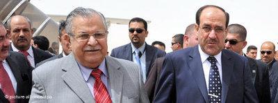 Nuri al-Maliki and Jalal Talabani in the autonomous Kurdish region (photo: dpa)