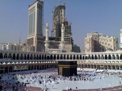 Pictured: Modern buildings rise over Mecca's <i>Masjid al-Haram</i> (photo: Meshal Obeidallah)