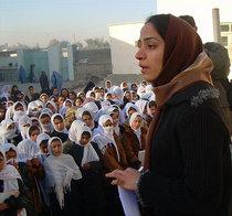 Malalai Joya visits a girls school in the Farah province of Afghanistan