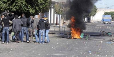 Young people protesting in Sidi Bouzid (photo: AP)