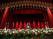 Barack Obama addressing an audience at Cairo University