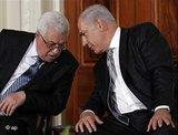 Mahmoud Abbas and Benjamin Netanyahu at the Middle East summit in New York in September 2009 (photo: AP)