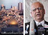 Photo montage of Jerusalem and Saeb Erekat (source: dpa/AP/DW)