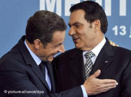 Tunisia's ex-President Zine el-Abidine Ben Ali and French President Nicolas Sarkozy (photo: dpa)