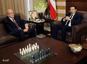 Saas Hariri (right) and Lebanon's prime minister-designate Najib Mikati (photo: AP)